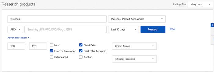 productos de investigación SEO de eBay