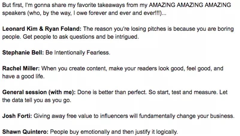 ejemplo de correo electrónico de guía de marketing despersonalizado