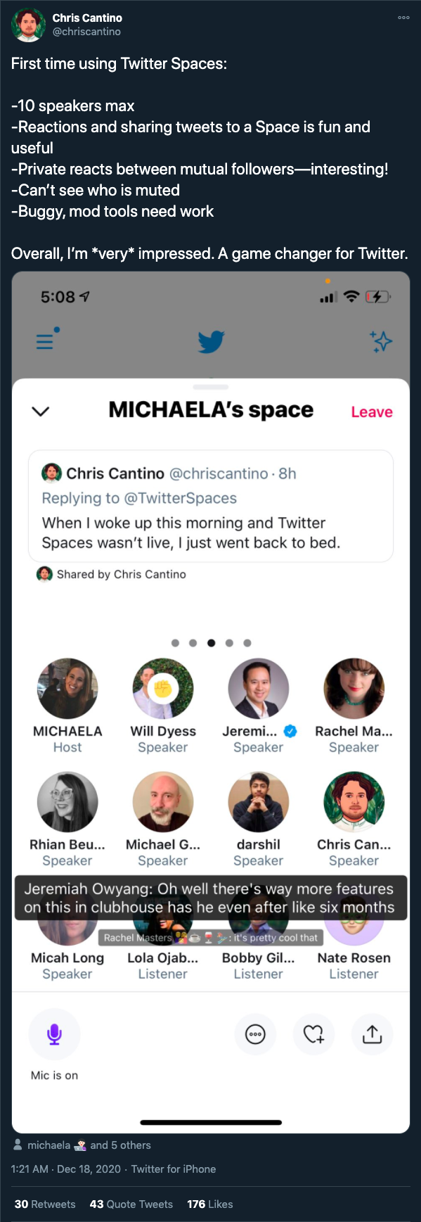 captura de pantalla de una habitación en espacios de twitter