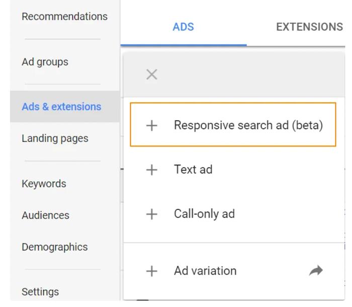 Anuncios adaptables en la red de búsqueda: abra su cuenta de Google Ads