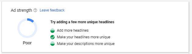 Anuncios de búsqueda adaptables: fuerza del anuncio