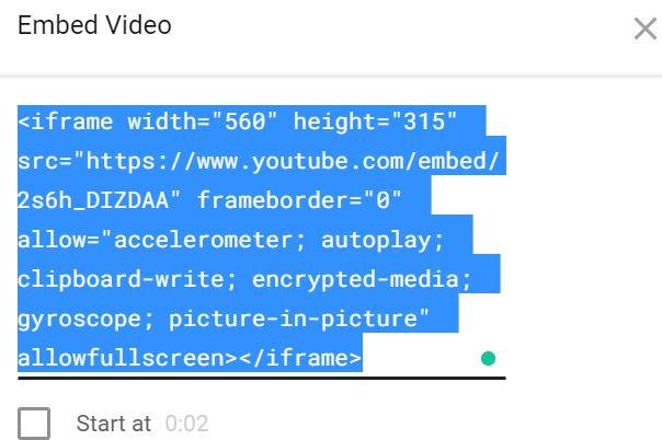 Insertar vídeos: código de muestra