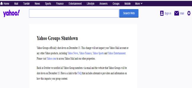 Página de detención de Grupos de Yahoo