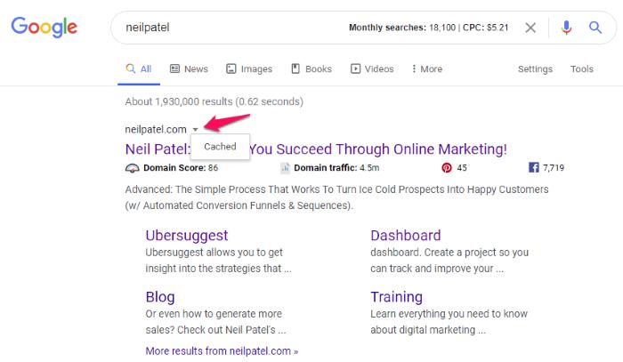 cómo mostrar la caché de google en los resultados de búsqueda