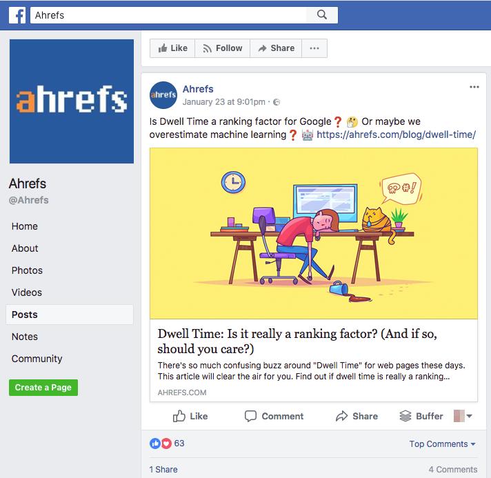 Página de Facebook que podría ayudar a las empresas de saas a desarrollar la promoción de marca