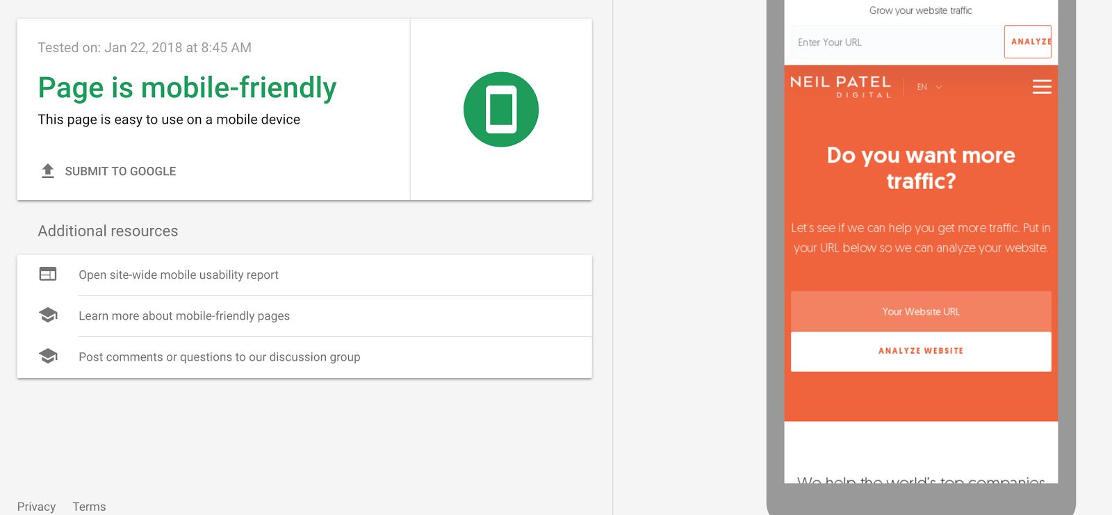 guía de clasificación compatible con dispositivos móviles