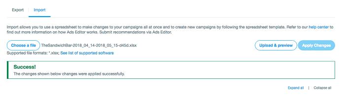 cómo editar anuncios en twitter - pantalla de éxito