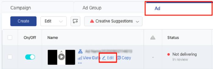 Cómo editar anuncios pagados de TikTok - pestaña Anuncios