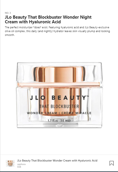 anuncios de comercio electrónico de ejemplo de belleza de jlo