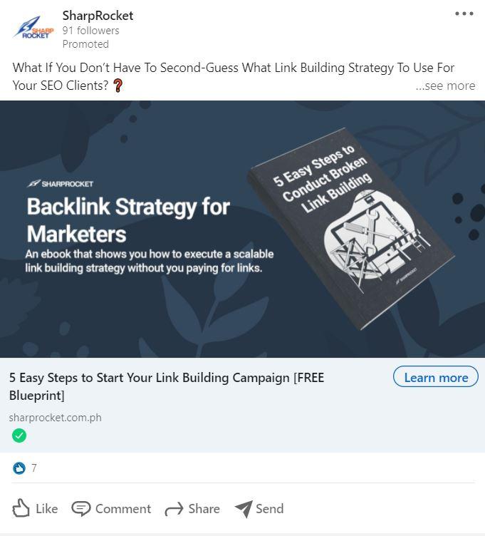 Ideas publicitarias de LinkedIn: haga una oferta en su anuncio, como SharpRocket