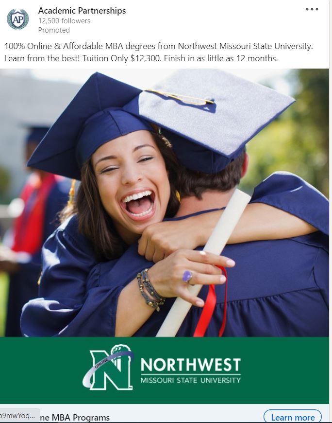 Ideas publicitarias de LinkedIn: apele a las emociones de las personas, como la Universidad Estatal del Noroeste de Missouri