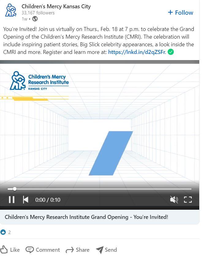 Ideas de publicidad de LinkedIn: anuncia eventos de la industria como Children's Mercy