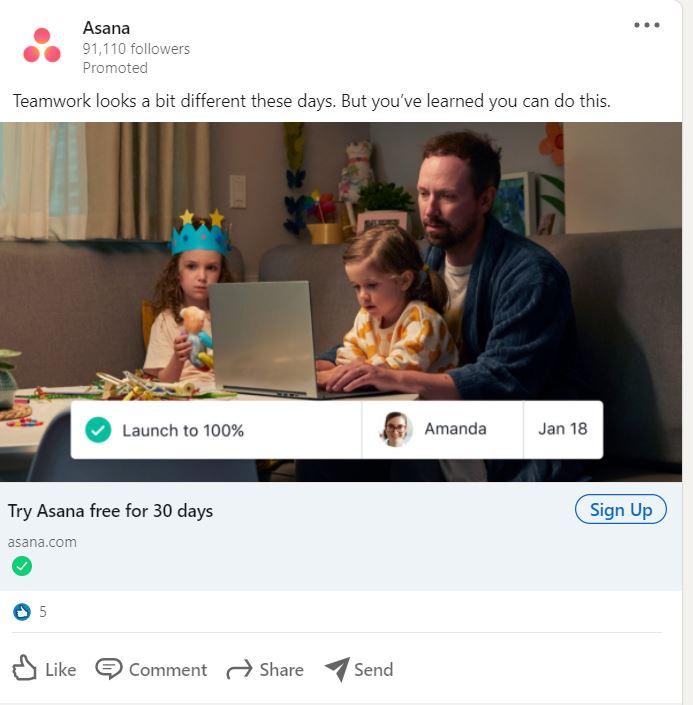 Ideas de publicidad de LinkedIn: haga que sus anuncios sean noticias, como Asana