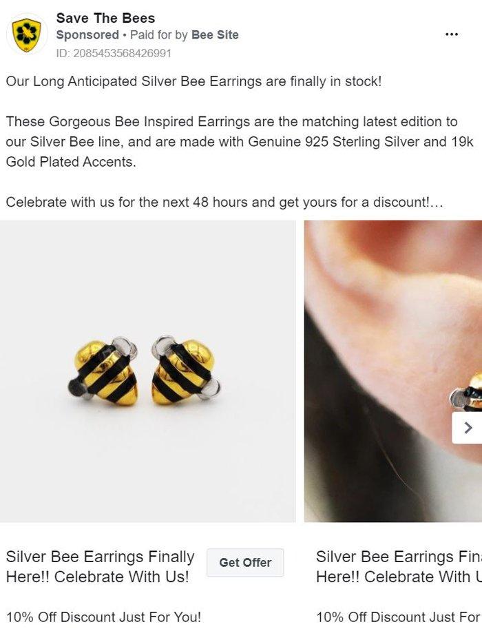 publicidad carrusel de facebook - abejas