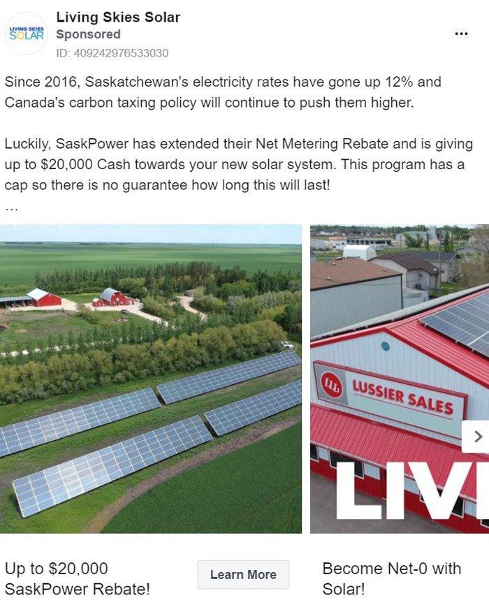 publicidad carrusel de facebook - living skies solar