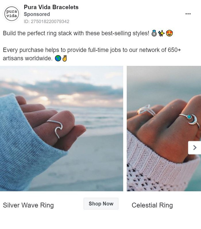 publicidad carrusel facebook - pulseras pura vida