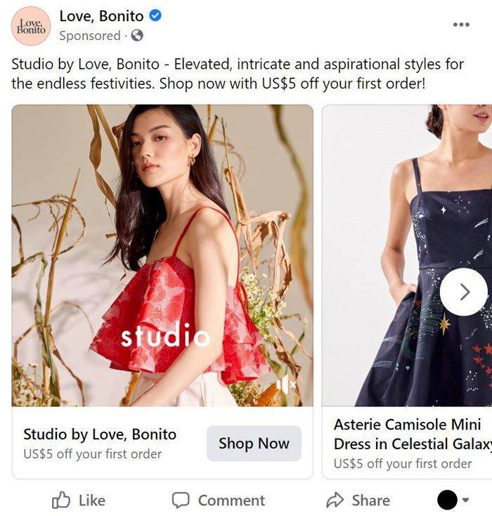 publicidad carrusel de facebook - amor bonito