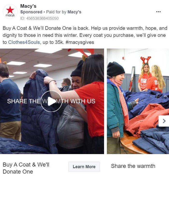 Publicidad carrusel de Facebook - macys