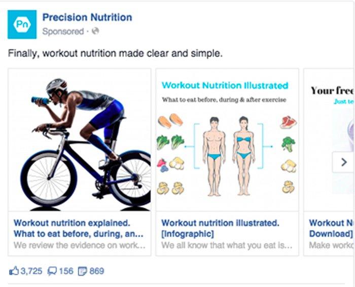 publicidad en carrusel de facebook - nutrición de precisión