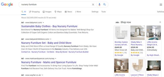 Buscar muebles de habitación para niños como parte de la estrategia de ideas publicitarias de Google