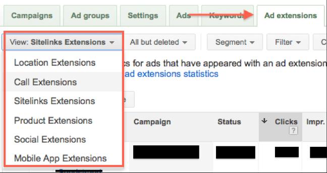 cómo editar extensiones de anuncios