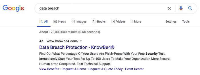 ejemplo de reconocimiento de marca por violación de datos