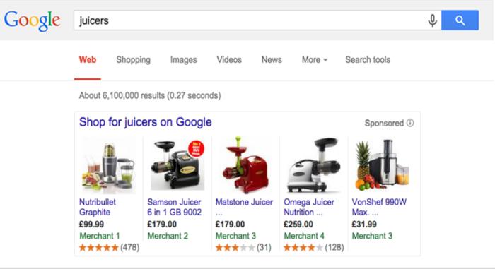 Ejemplo de revisión de producto de Google, similar a Reseñas de clientes de Google. Estos tienen como objetivo medir qué tan satisfecho está un cliente con un producto.