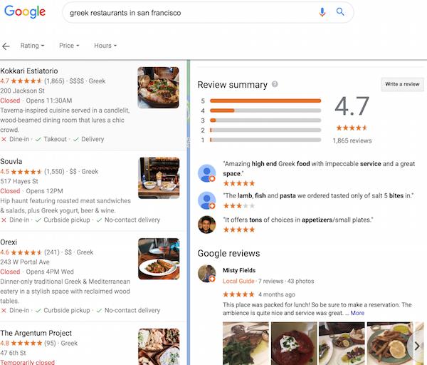 Encontrar resúmenes de reseñas de Google
