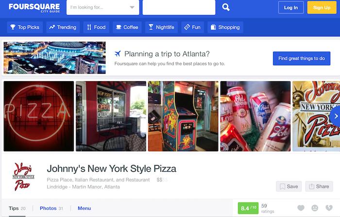 Califique los sitios para obtener más opiniones de los clientes - Foursquare