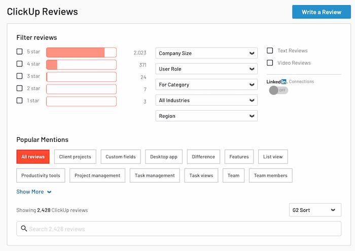 Califique los sitios para obtener más opiniones de los clientes - G2 Crowd