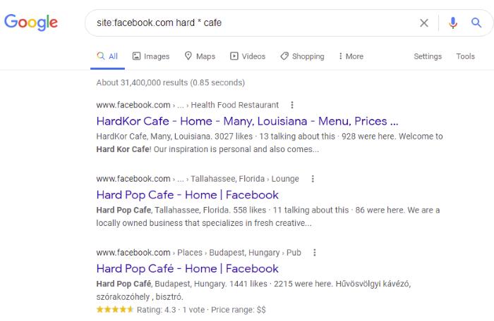 Operadores de búsqueda de Facebook para probar: búsqueda booleana básica de Facebook para completar los espacios en blanco