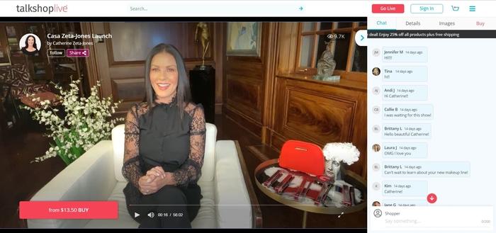 Catherine Zeta-Jones, evento de compras en vivo