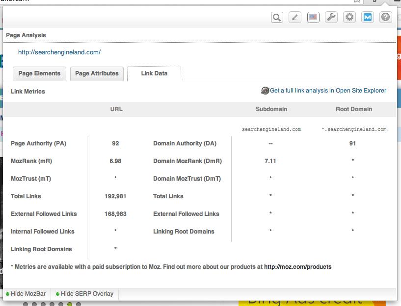 pestaña de datos de enlace de la herramienta seo gratuita de mozbar