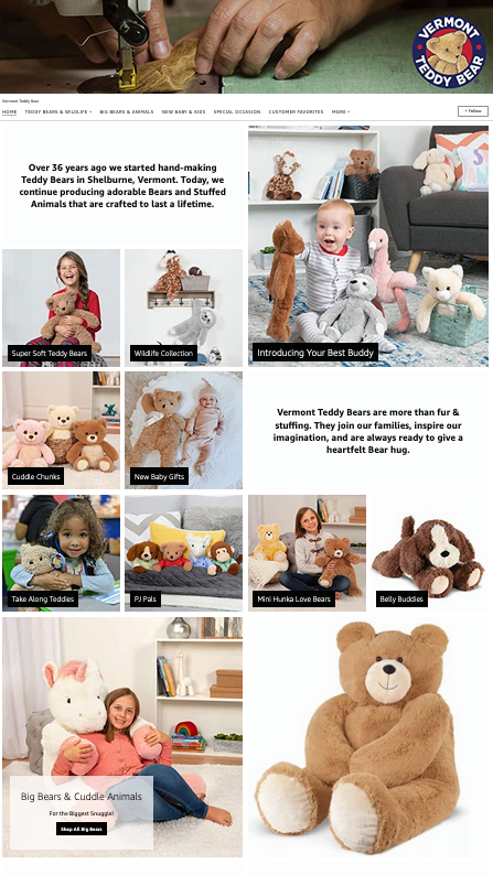 Ejemplos de escaparates de Amazon hermosos y efectivos: Vermont Teddy Bear
