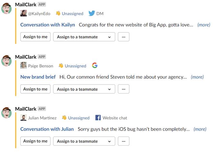 Aplicación Slack MailClark