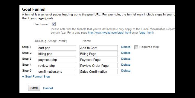 configurar el embudo de conversión de 5 objetivos de Google Analytics