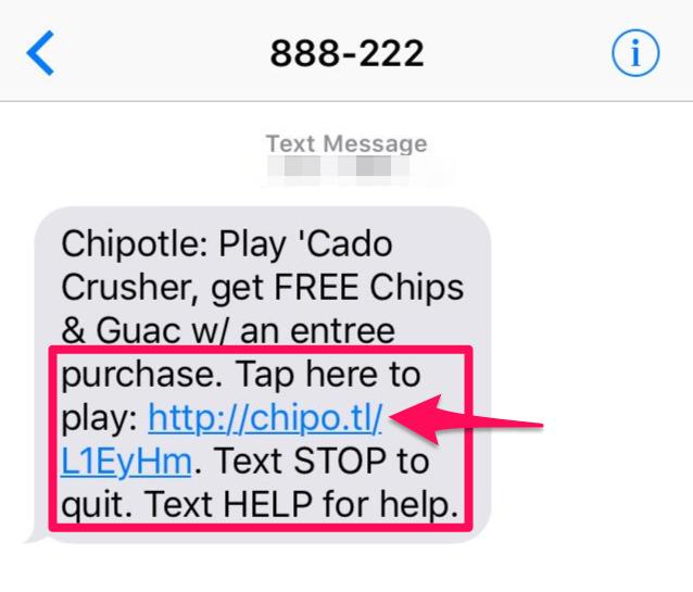 muestra de marketing de SMS de Chipotle