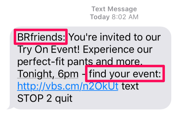 Ejemplo de marketing por SMS de Banana Republic