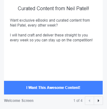 Ejemplo de anuncio SMS de marketing en Facebook