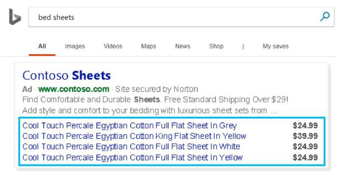 ¿Cuánto cuestan los anuncios de Bing? ejemplo de anuncios dinámicos de búsqueda