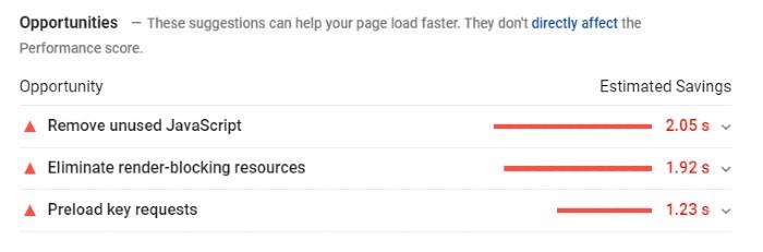 rastrear para aumentar la velocidad de la página