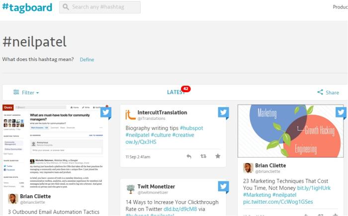 Encuentre hashtags relevantes con la herramienta de redes sociales TagBoard.