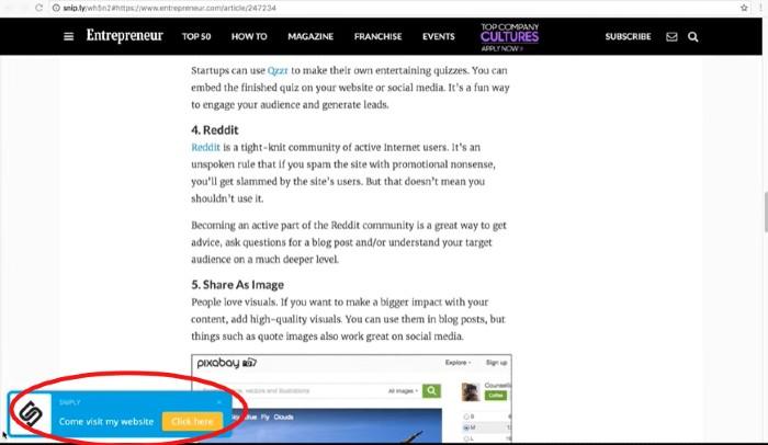 Ejemplo de CTA de la herramienta de redes sociales de Snip.ly