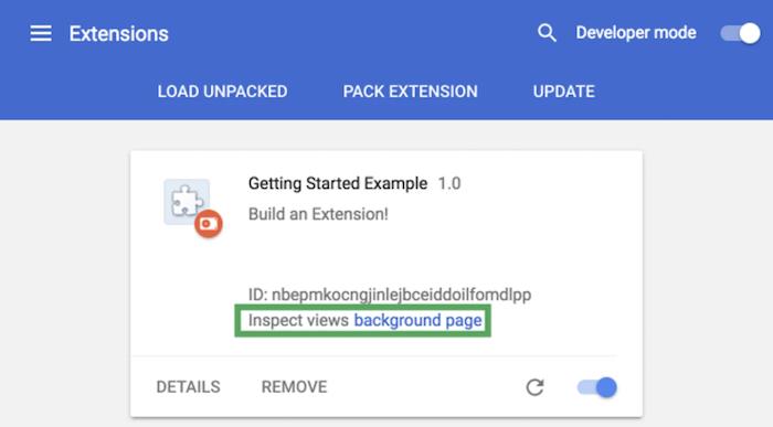 ejemplo de interfaz de generador de extensiones de Chrome