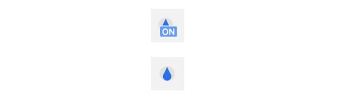un icono que muestra la funcionalidad y una gota de agua debajo