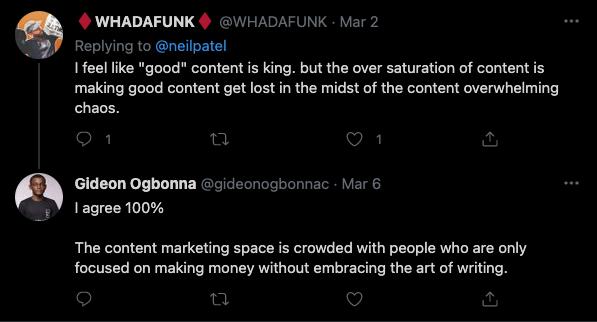es el rey del contenido? Comentario de Twitter