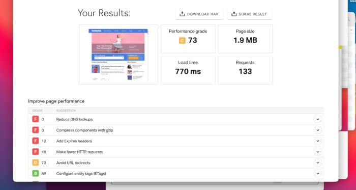 Resultados de velocidad del sitio web - Redacción SEO