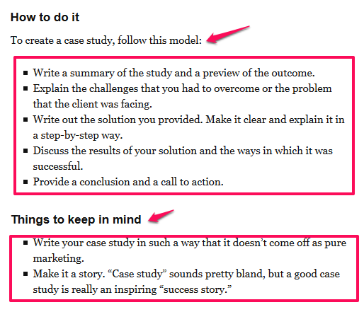create a case study - seo copywriting
