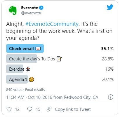 estrategia avanzada de Twitter - hashtags en encuestas