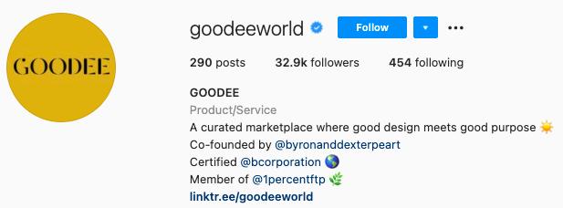 mejores biografías de instagram - página de bio de instagram de goodee